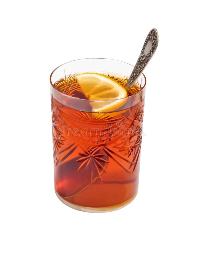 Стекло чая с лимоном стоковые изображения
