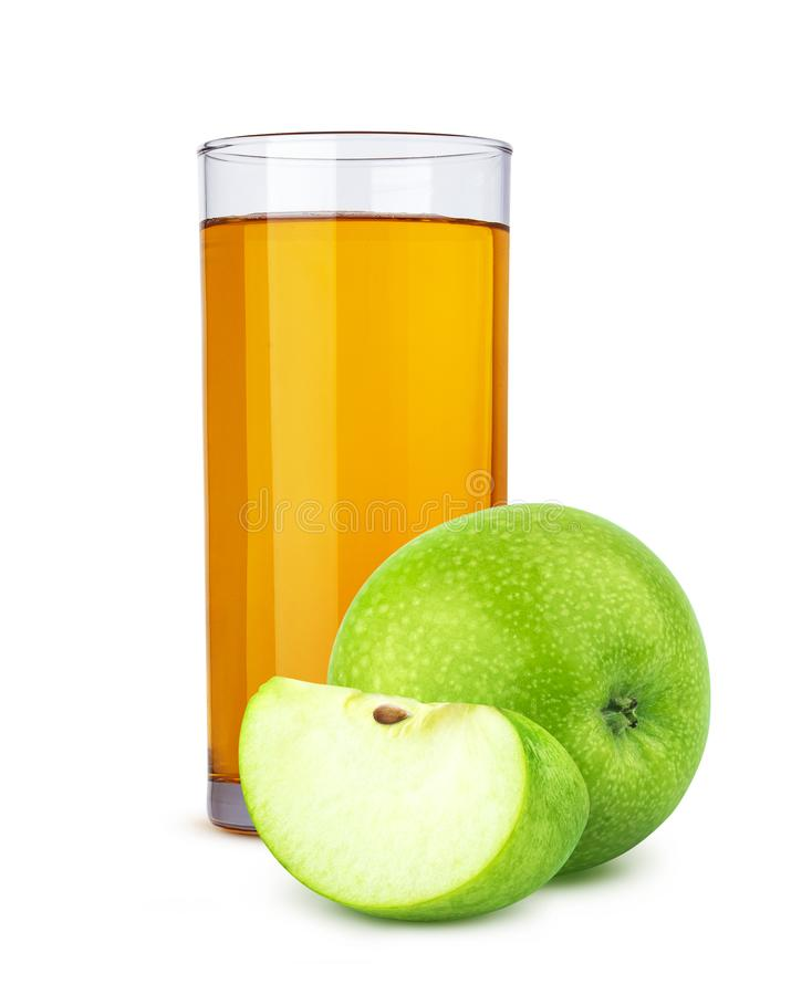 Стекло яблок яблочного сока и отрезка изолированных на белой предпосылке стоковое фото rf