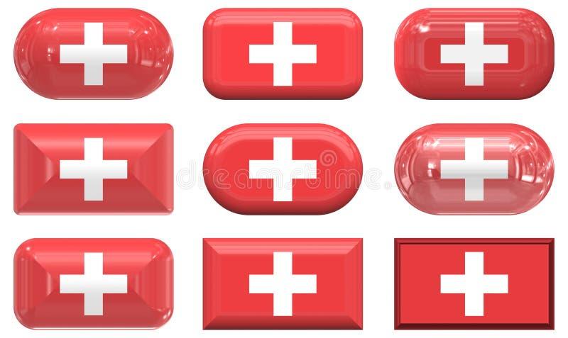 стекло 9 Швейцария флага кнопок иллюстрация вектора