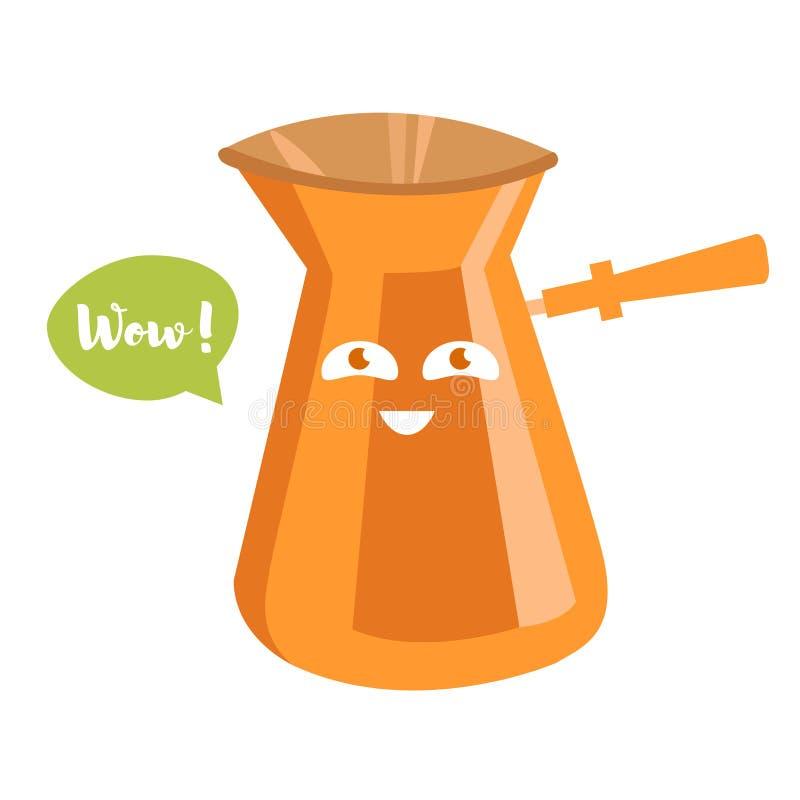 стекло espresso кофе cezve холодное как, котор служят малая турецкая вода вектор шарж бесплатная иллюстрация