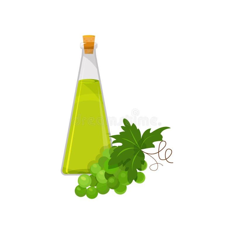 Стеклянная бутылка масла семени виноградины, органической здоровой иллюстрации вектора шаржа нефтяного продукта бесплатная иллюстрация