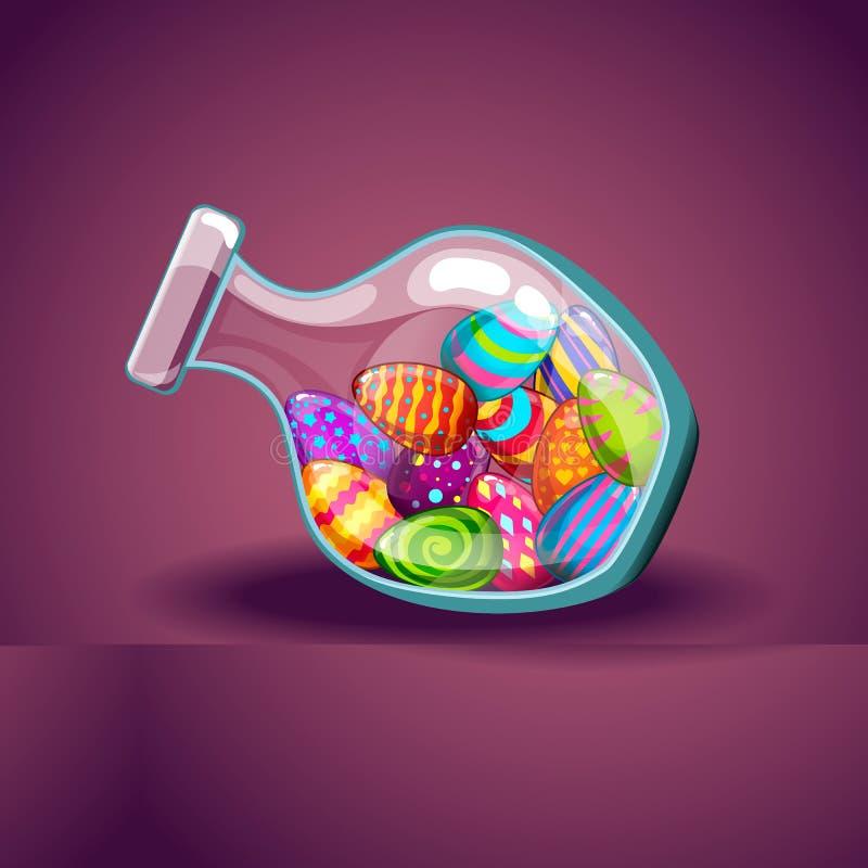 Стеклянная бутылка с милыми пасхальными яйцами мультфильма иллюстрация штока