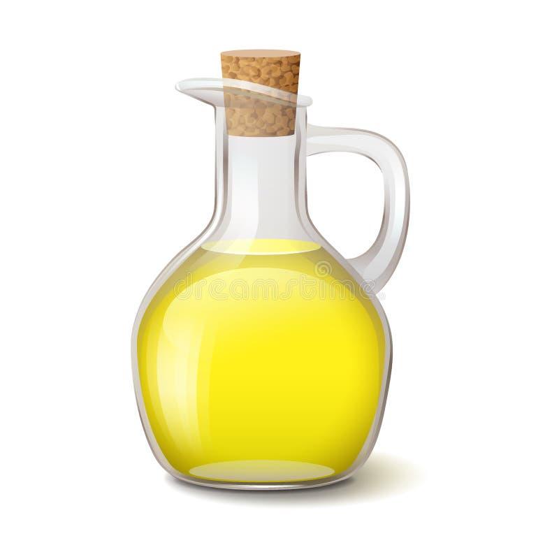 Стеклянная бутылка с ярким желтым маслом и деревянной пробкой иллюстрация вектора
