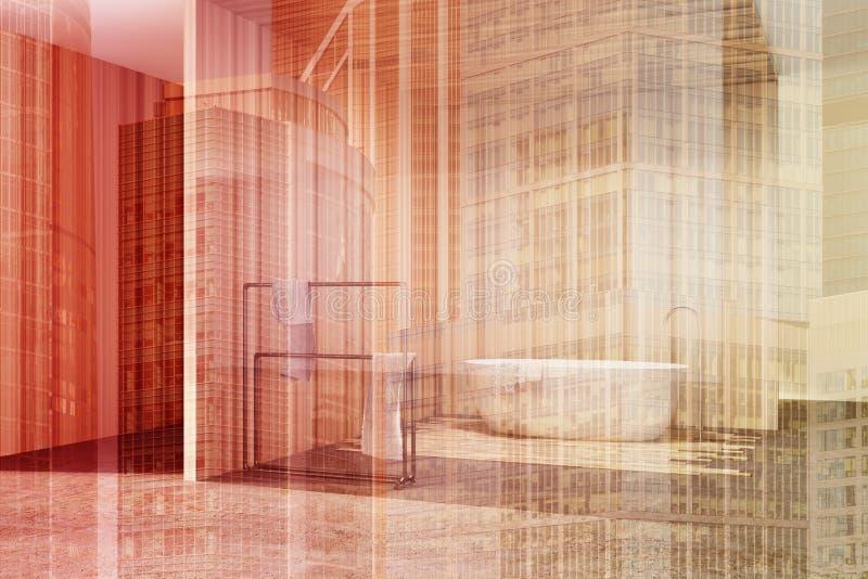 Стеклянная и деревянная ванная комната, белый тонизированный ушат иллюстрация вектора