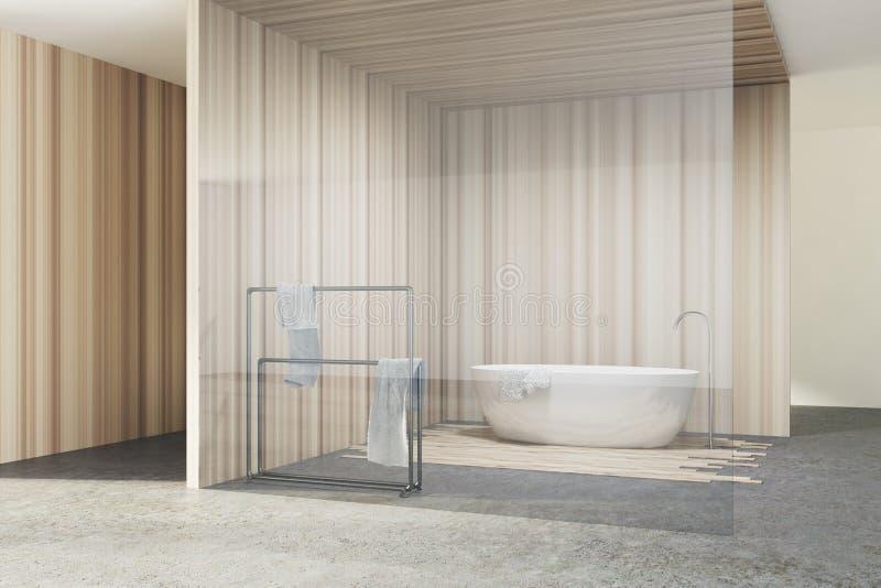 Стеклянная и деревянная ванная комната, белый ушат иллюстрация вектора
