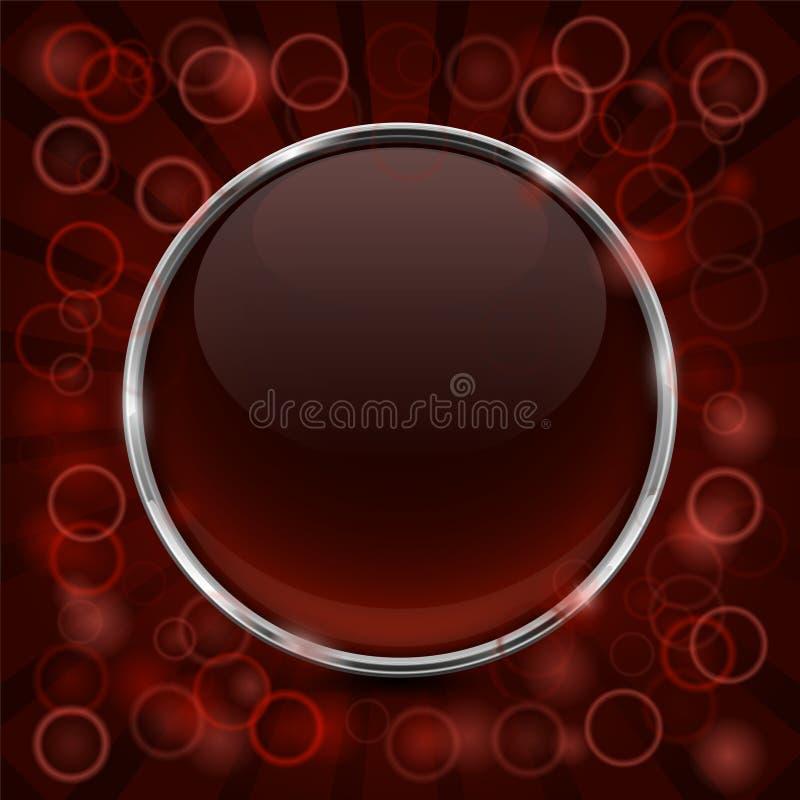 Стеклянная коричневая сияющая кнопка 3d с рамкой металла также вектор иллюстрации притяжки corel иллюстрация вектора