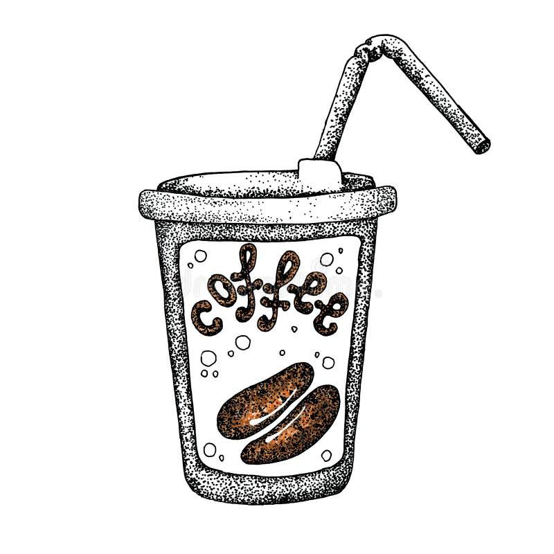 Стеклянная кружка горячих кофе напитка, чая, etc и кофейные зерна Иллюстрация с предпосылкой акварели для дизайна  бесплатная иллюстрация