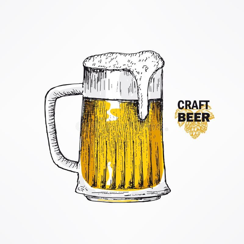 Стеклянная кружка пива Эскизы вектора вручают вычерченную иллюстрацию бесплатная иллюстрация