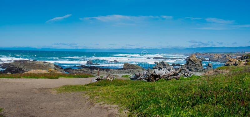 Стеклянная панорама Fort Bragg Калифорния пляжа стоковое изображение rf