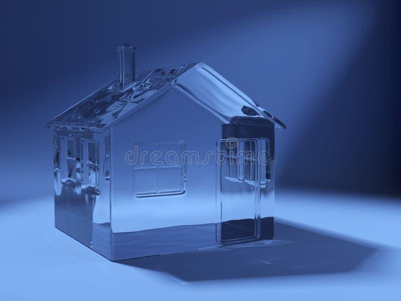 стеклянная сделанная икона дома 3d иллюстрация вектора