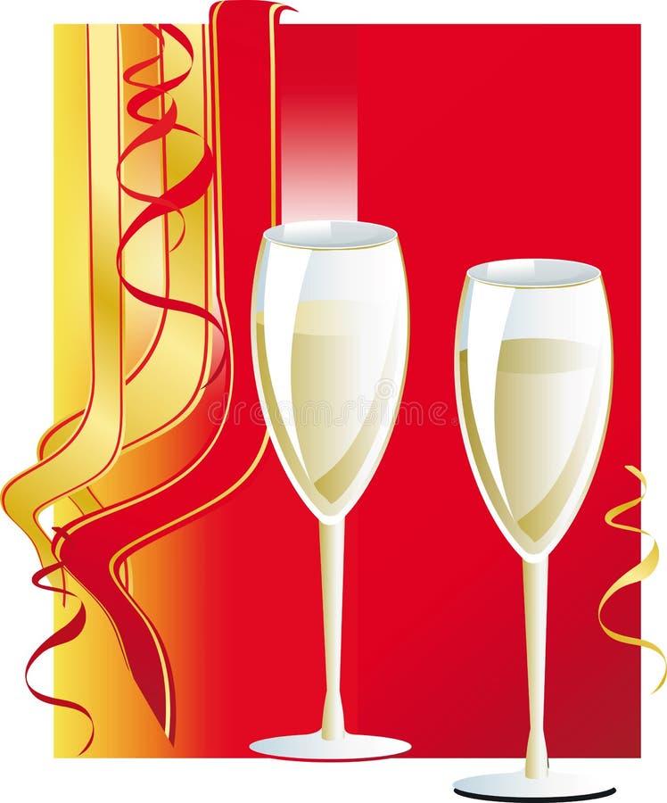 стеклянное вино праздника иллюстрация штока