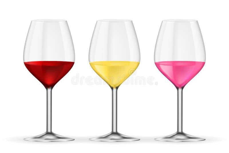 стеклянное вино вино розы красного цвета белое Иллюстрация вектора 3D изолированная на белой предпосылке иллюстрация вектора