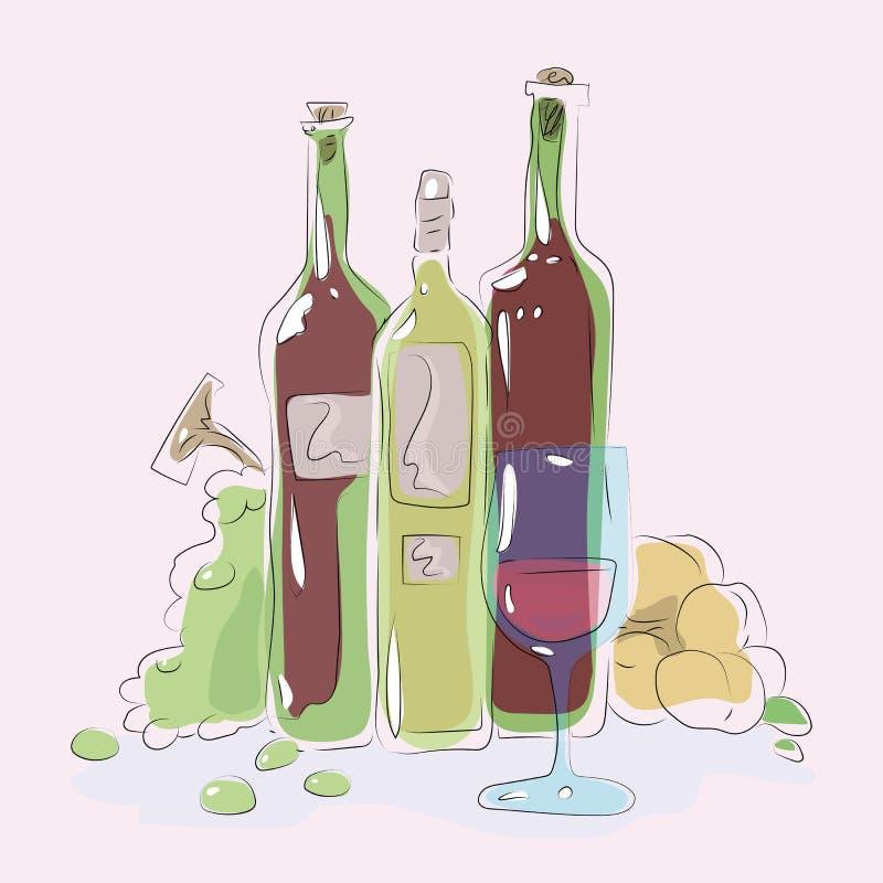 Стеклянное синее стекло с розовым вином на предпосылке зеленой бутылки illustrat вектора состава персиков виноградин слепимости в иллюстрация вектора