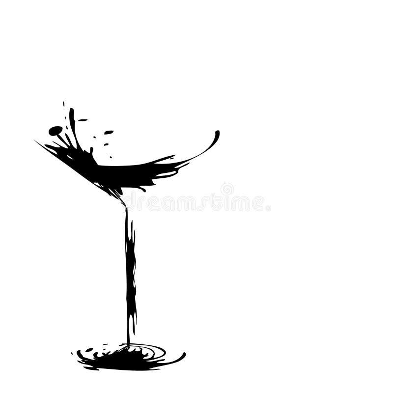 стеклянное стилизованное вино иллюстрация вектора