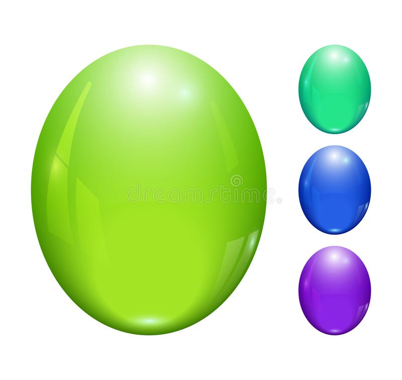 Стеклянные лоснистые кнопки с отражением иллюстрация вектора