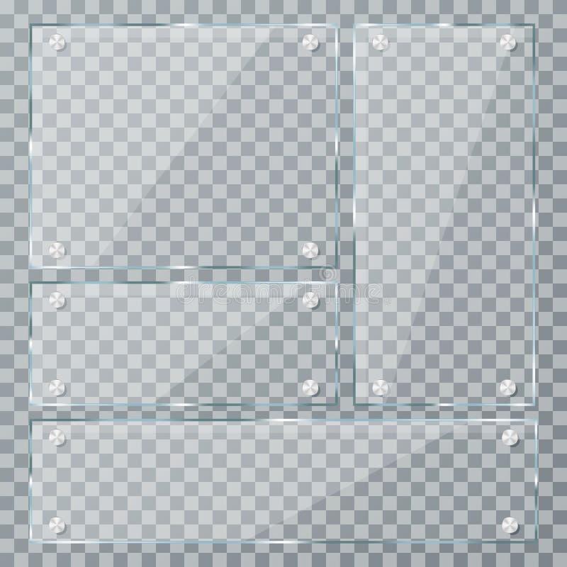 Стеклянные пластинки на прозрачной предпосылке Пустые реалистические акриловые плиты с струбцинами металла бесплатная иллюстрация