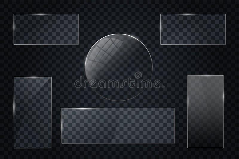 Стеклянные прозрачные установленные знамена Vector стеклянные пластинки с местом для изолированных надписей на прозрачной предпос иллюстрация штока