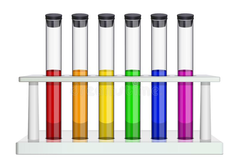 Стеклянные трубки лабораторного исследования с пробочкой и пестроткаными жидкостями Пробирки в шкафе лаборатории Особенные блюда  иллюстрация штока