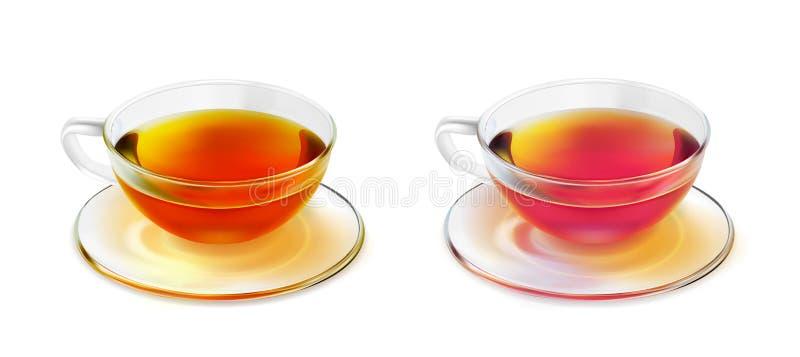 Стеклянные чашка и поддонник чая с черным чаем бесплатная иллюстрация