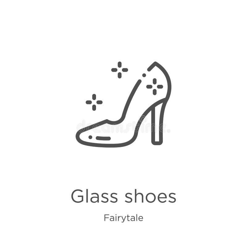 стеклянный вектор значка ботинок от собрания сказки Тонкая линия стеклянная иллюстрация вектора значка плана ботинок План, тонкая иллюстрация штока