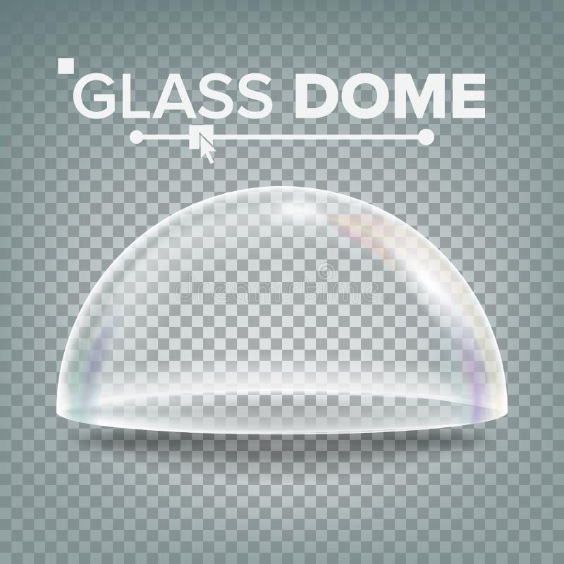 Стеклянный вектор купола Элемент дизайна выставки Крышка Полу-сферы Пустой стеклянный кристаллический купол Реалистическое 3D изо иллюстрация вектора