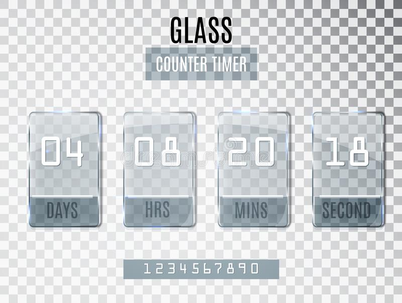Стеклянный встречный таймер изолированный на прозрачной предпосылке Шаблон даты окончания начала скидок и продвижений Coun часов бесплатная иллюстрация