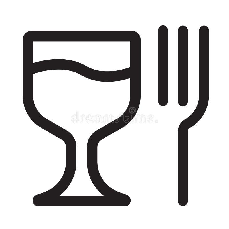 Стеклянный значок вектора вилки стеклянный значок вектора сосиски вилки иллюстрация вектора
