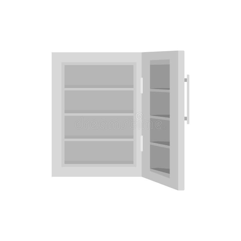 Стеклянный значок холодильника двери, плоский стиль иллюстрация вектора