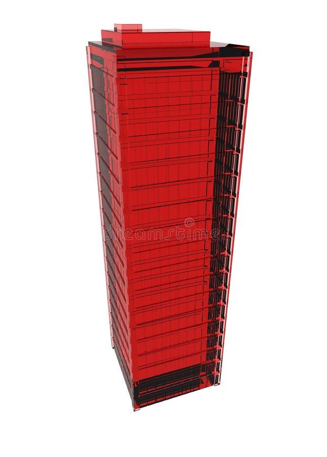 стеклянный красный небоскреб иллюстрация вектора