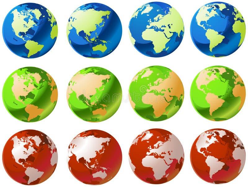 стеклянный мир глобусов иллюстрация вектора