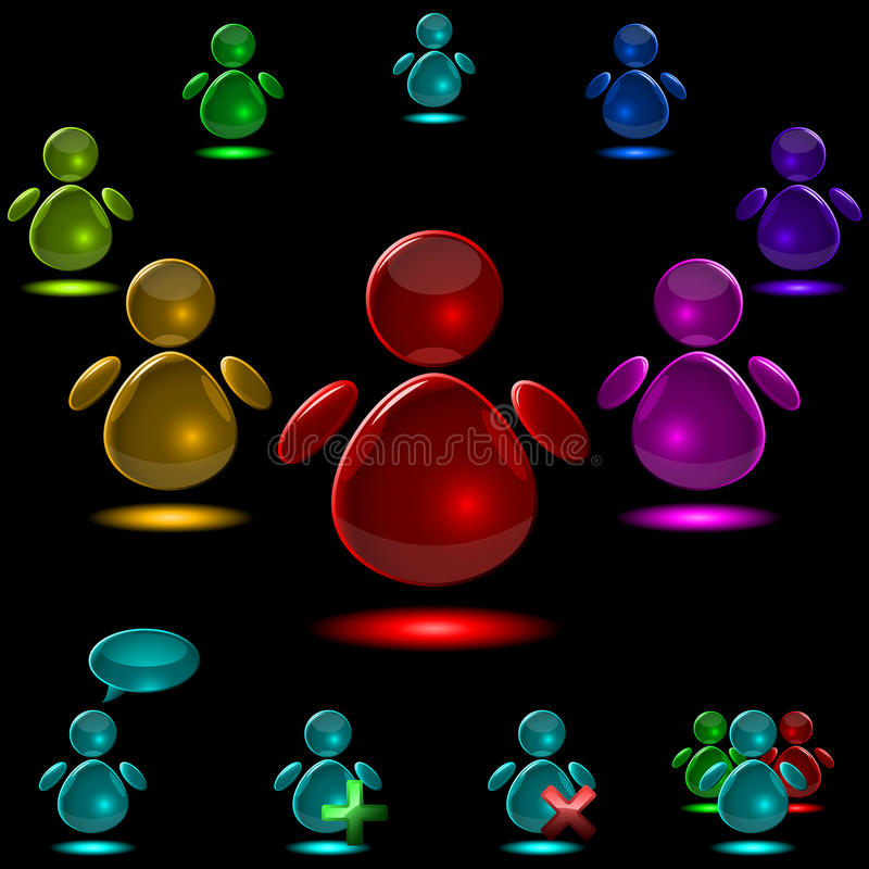 стеклянный потребитель икон иллюстрация вектора