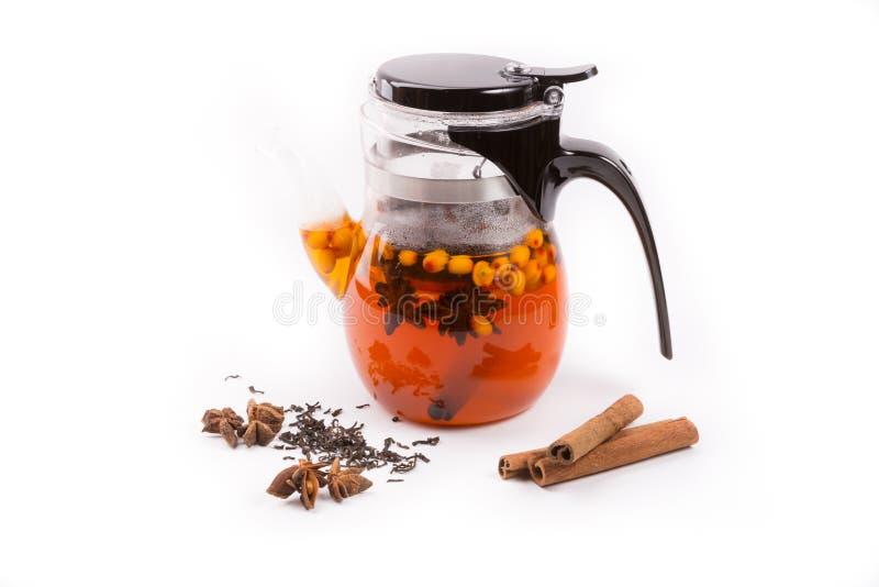 Стеклянный прозрачный чайник на белом backgrounf с ингредиентами чая стоковое фото rf