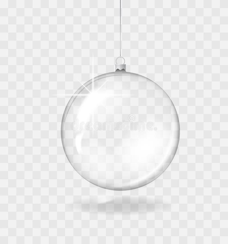 Стеклянный прозрачный шарик рождества Шаблон украшения праздника также вектор иллюстрации притяжки corel стоковая фотография