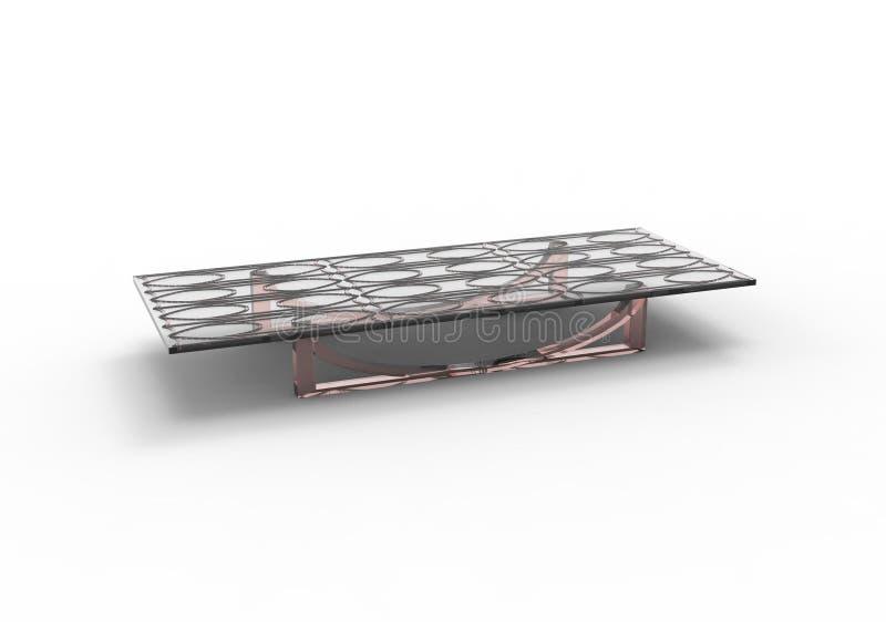 Стеклянный стол простого дизайна для живя комнаты иллюстрация штока
