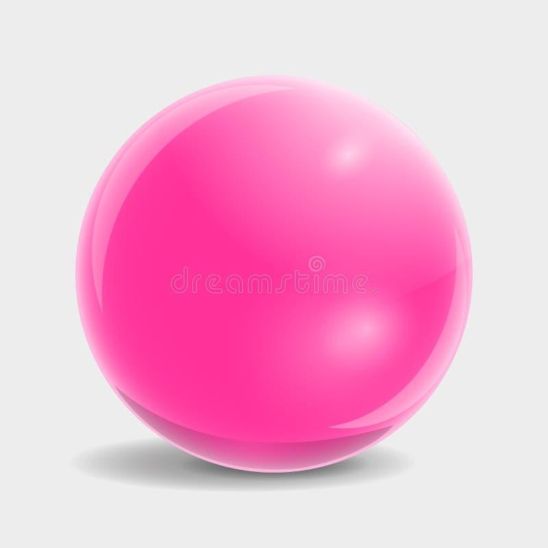 Стеклянный шарик в розовом цвете иллюстрация вектора