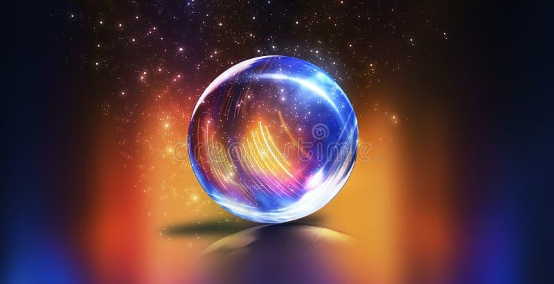 Стеклянный шарик, отражение неоновых свет, лучей, слепимости Абстрактная неоновая предпосылка r Волшебный стеклянный шарик, шпат стоковые изображения