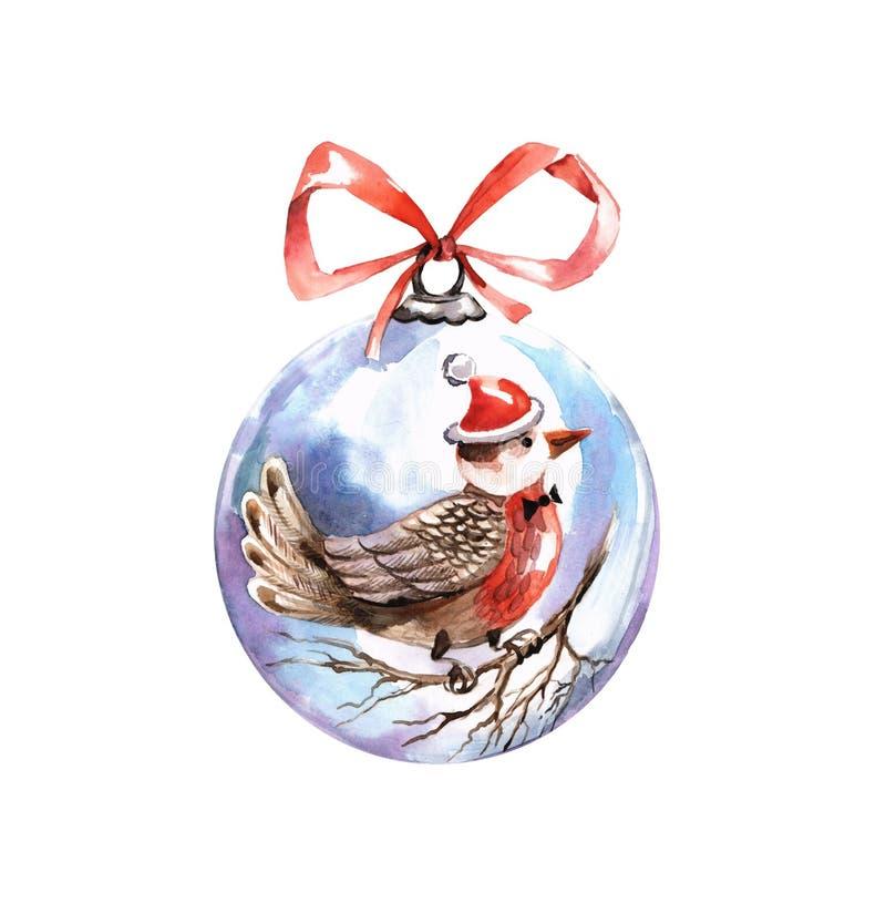 Стеклянный шарик рождества с картиной иллюстрация вектора