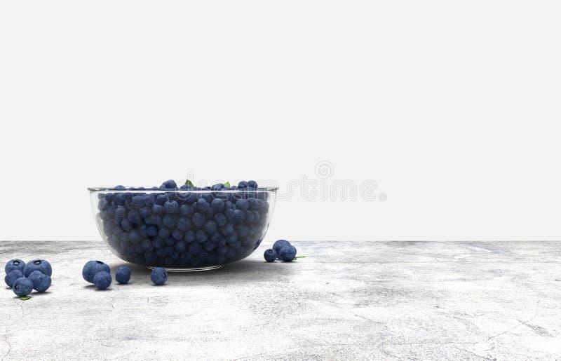 Стеклянный шар вполне голубик на конкретной таблице иллюстрация вектора