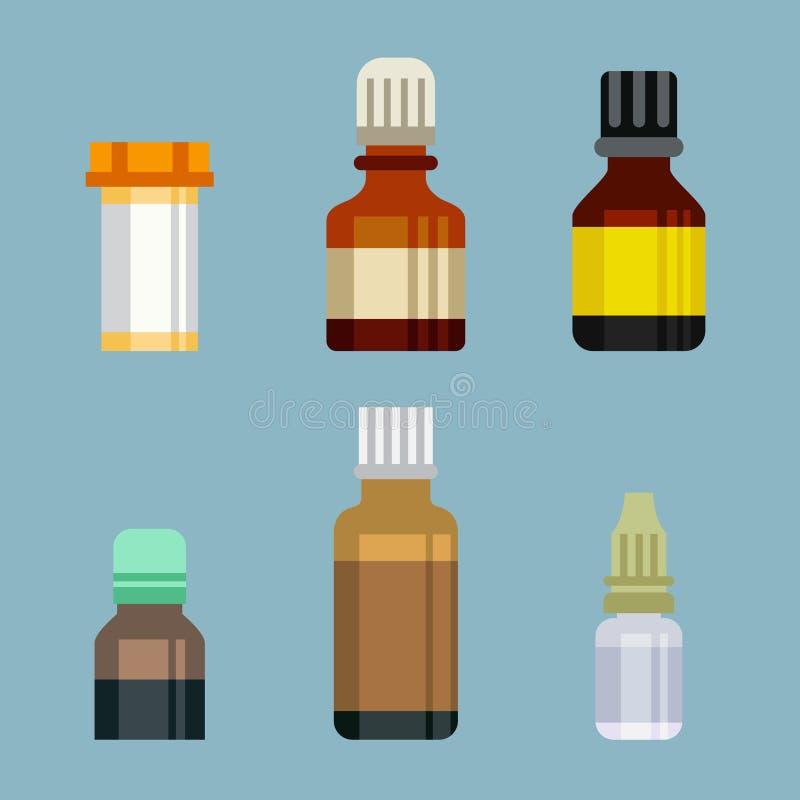 Стекла бутылок плоского стиля медицинские фармацевтические иллюстрация вектора