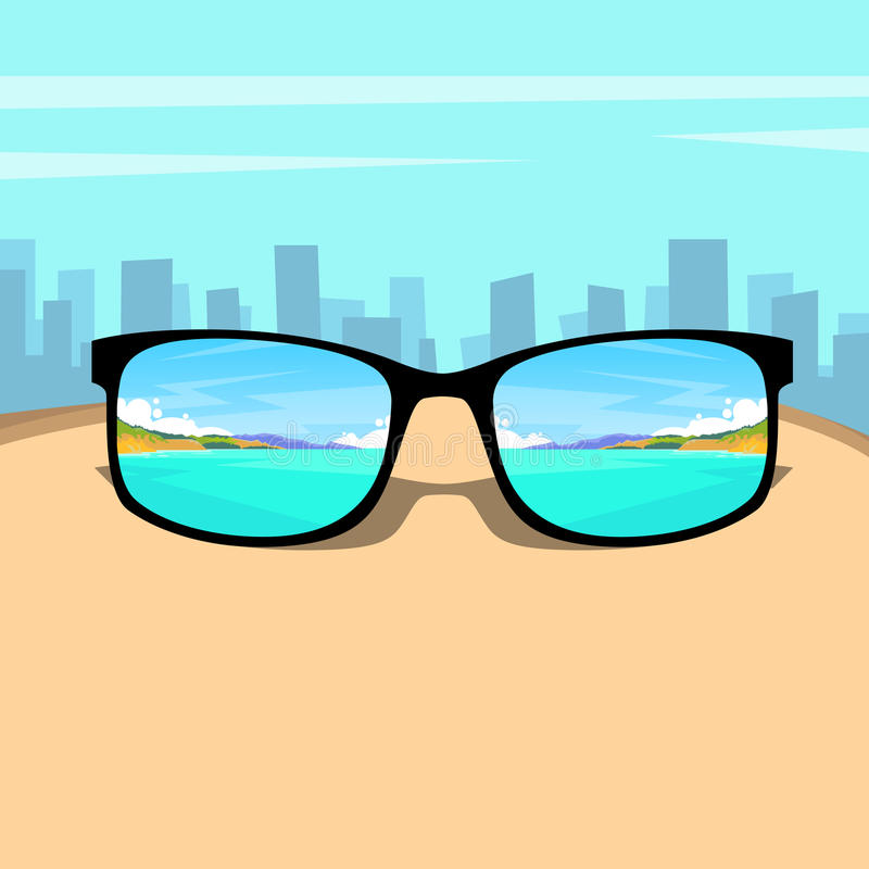 Стекла глаза с морем лета, концепцией мечты остатков каникул изображения пляжа над большой предпосылкой города иллюстрация вектора