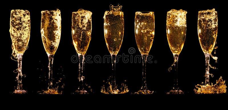 Стекла коллажа шампанского стоковые фото