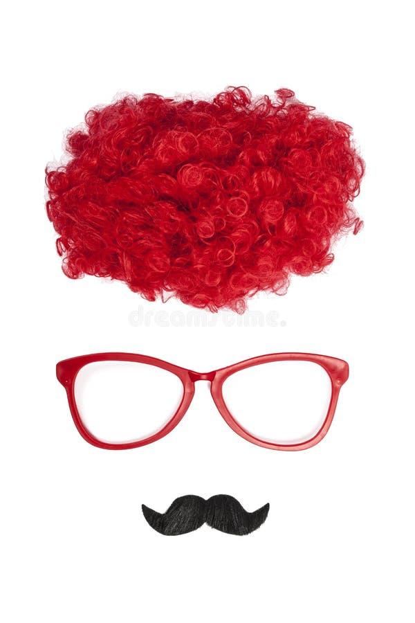 Стекла, парик и усик клоуна стоковые изображения rf