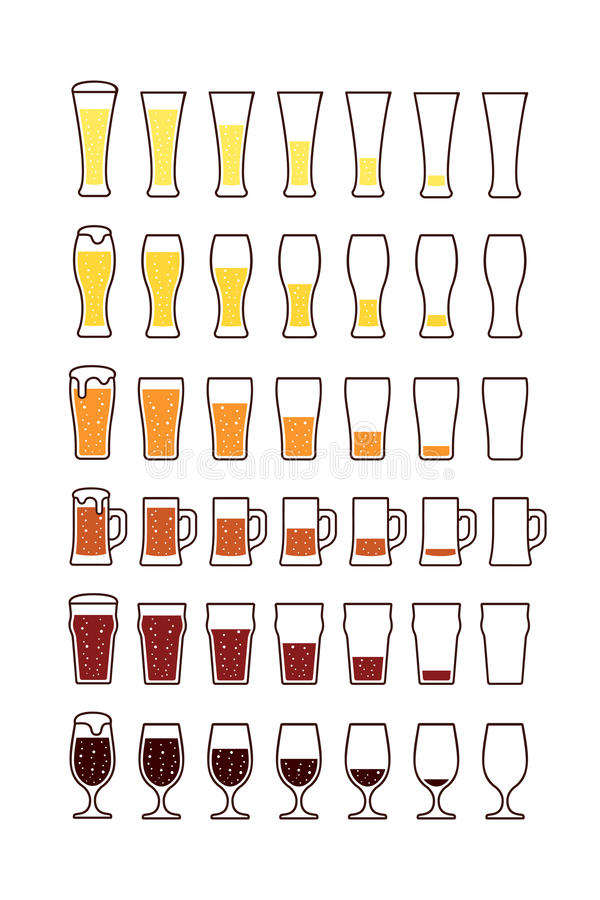 Стекла пива с пузырями: опорожните, половинный, вполне вектор бесплатная иллюстрация