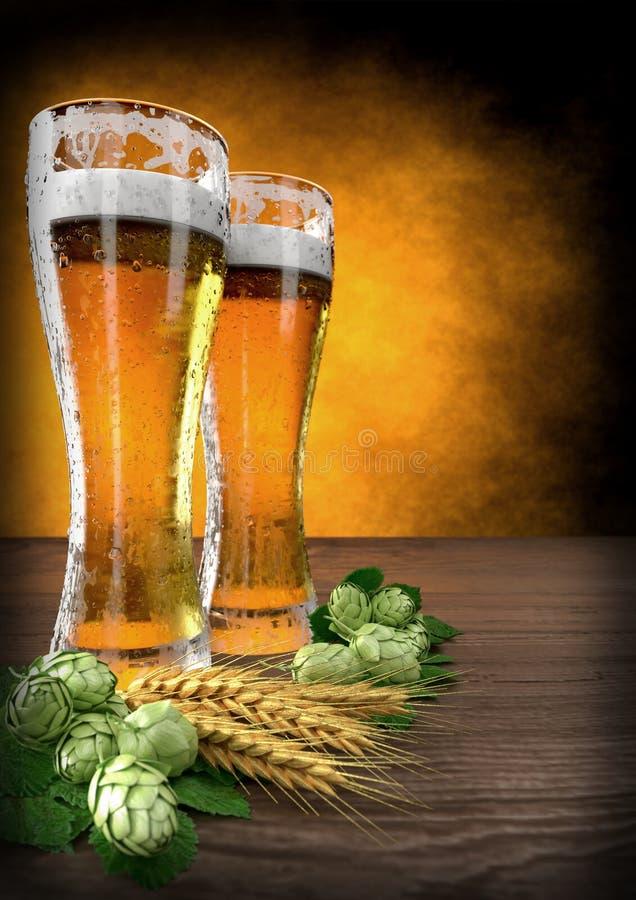 2 стекла пива с ячменем и хмелями на таблице - 3D представляют бесплатная иллюстрация