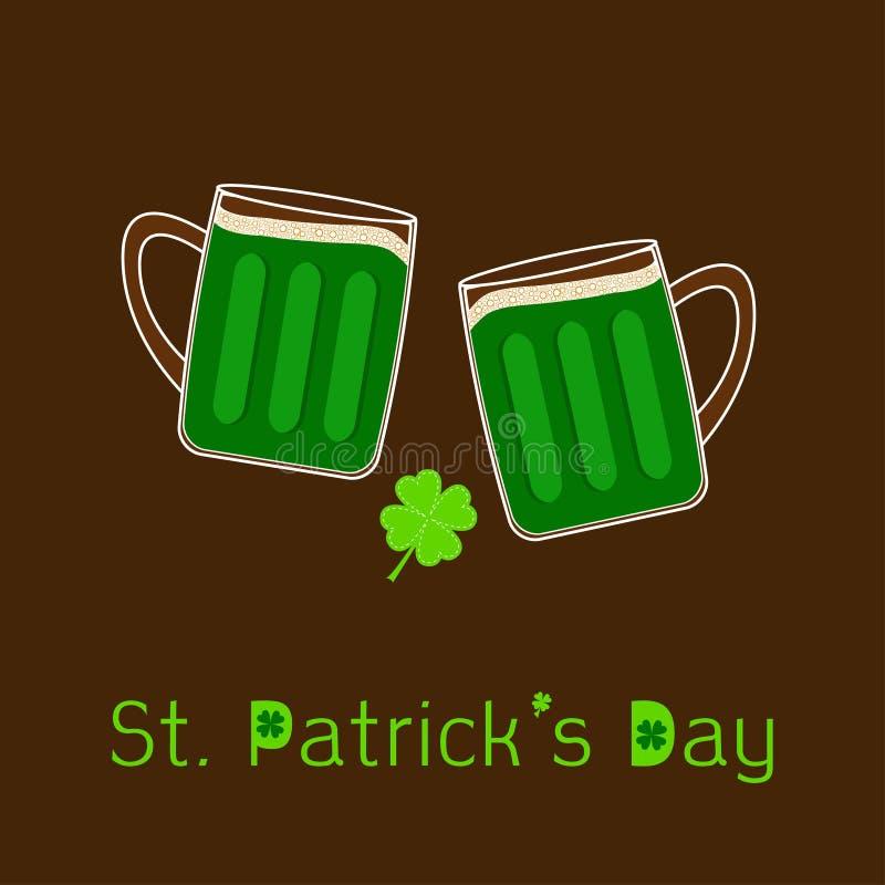 Стекла пива clink дня 2 St Patricks зеленые mug с пузырем пены крышки пены и лист клевера Плоский дизайн бесплатная иллюстрация