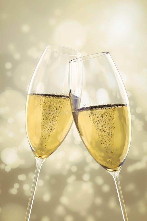 2 стекла Шампани иллюстрация вектора