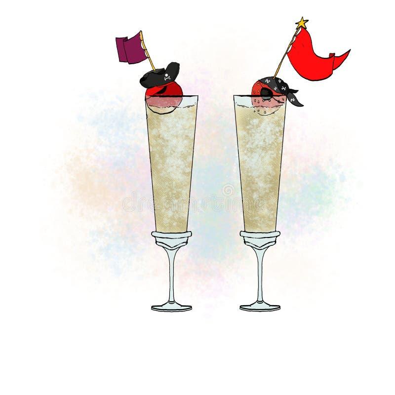 Стекла шампанского иллюстрация штока
