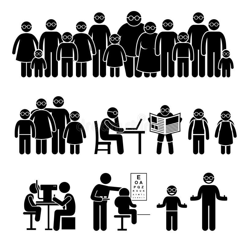 Стекла Clipart семьи детей людей нося бесплатная иллюстрация