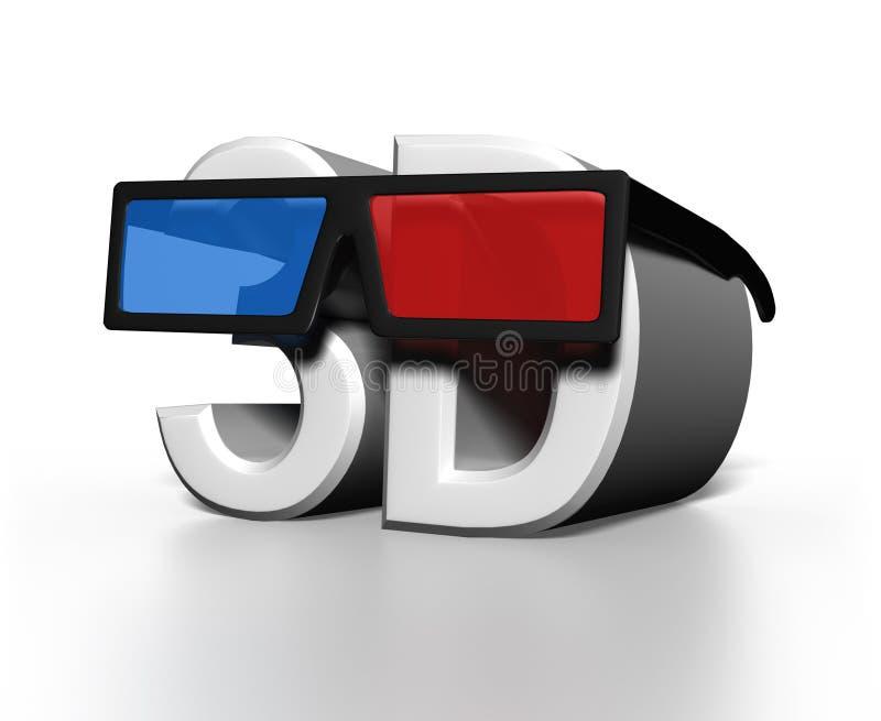 стекла 3D на большом тексте слова 3D иллюстрация штока