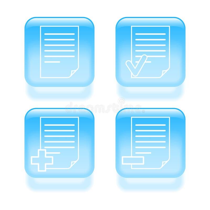 Стекловидные значки документа иллюстрация штока
